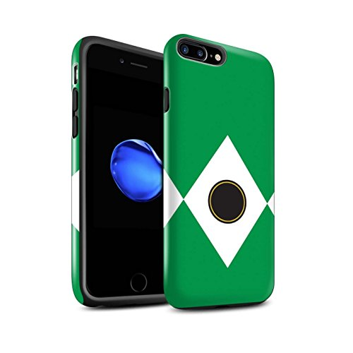 Power Case Rangers - STUFF4 Gloss Tough Shock Proof Phone Case for Apple iPhone 8 Plus/Green Design/TV Comic Rangers Collection