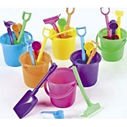 Beach Play Sets - 12 Buckets, Shovels, Rakes, and Scoops
