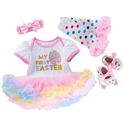 NUWFOR 4PCS Newborn Baby Girls Princess Easter Eggs Letter Print Tutu Dress Outfits Set White
