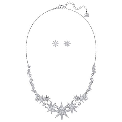 (Swarovski The Rhodium-Plated Necklace and Pair of Pierced Earrings Sparkle Brilliantly with Crystal Pave Womens Style: 5253053-Rhodium Size: One Size for All)