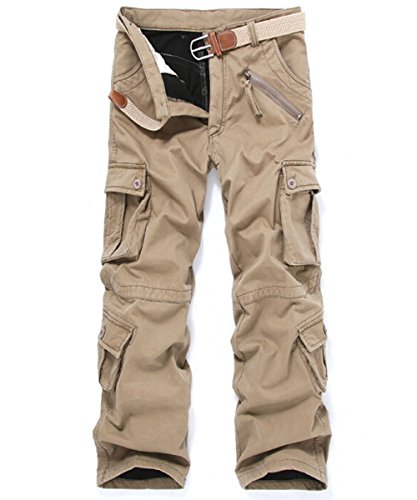 Congs Men's Winter Fleece Lined Military Cargo Pants Casual Outdoor Pants Wheat-34 -