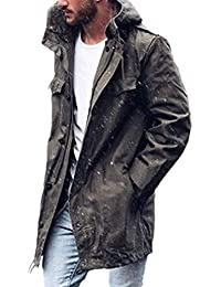 Men Pocket Hooded Trench Coat Outwear Relaxed-Fit Trench Coat