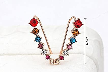 6df466374 2015 Top Quality New Four-Prong Setting 7pcs CZ Diamonds 18K Gold Plated Ear  Hook Stud Earrings Jewelry Trendy Jewelry Women Accessories Gold:  Amazon.co.uk: ...