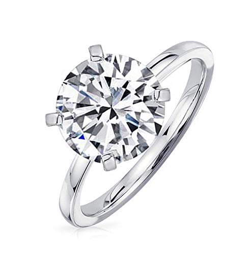 Samie Collection 4 Carat Round Brilliant Cubic Zirconia Solitaire Wedding Engagement Rings for Women in Rhodium Plating