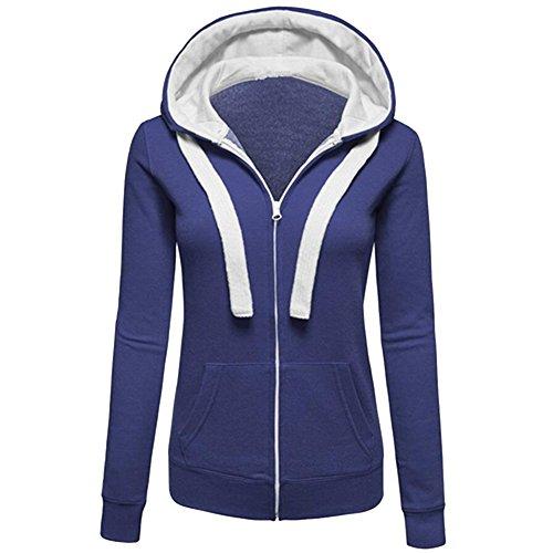 Sudadera Con Cremallera y Capucha Hoodie Sweatshirts Chaqueta Sudaderas Deportivas - Deporte/Gimnasio/Running Azul Denim