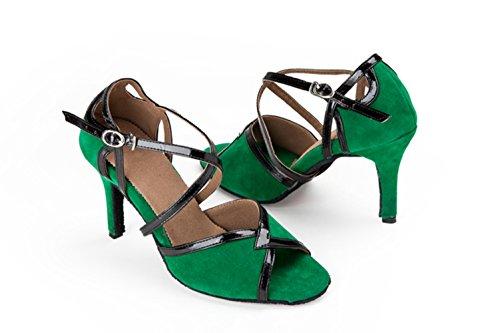 Tda Kvinna Peep Toe Mocka Latinska Moderna Samba Rumba Bröllop Dansskor Grön