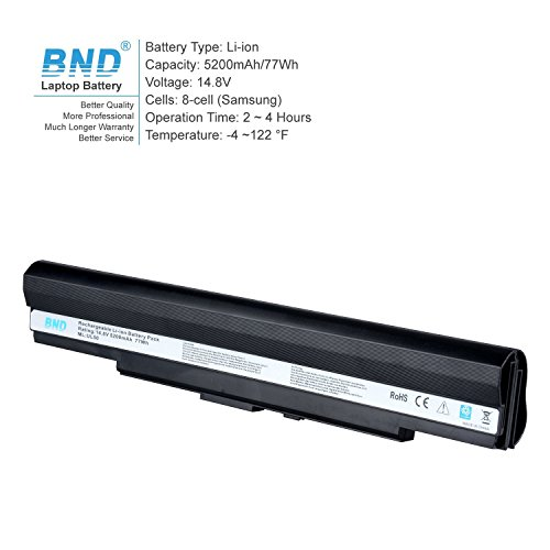 BND 5200mAh Battery [with Samsung Cells] for Asus UL80JT UL30A UL30V U30JC UL50 UL50V UL80 UL80V UL80VL UL80J, fits P/N A42-UL50 A42-UL30 - 24 Months Warranty [8-Cell, Li-ion] by BND (Image #1)