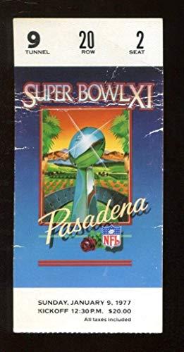 Super Bowl XI 11 Ticket Raiders Vikings 1/9/77 Pasadena Rose Bowl 44225