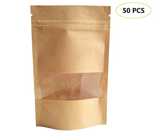 Heatseal Tea Bags (50 PCS All-Purpose Kraft Paper Stand Up Bag, Zip Lock Reusable Kraft Package Bag Storage Pouch with Notch and Transparent Window for Storing Seeds, Snack and Nuts – Brown (50, 4.7