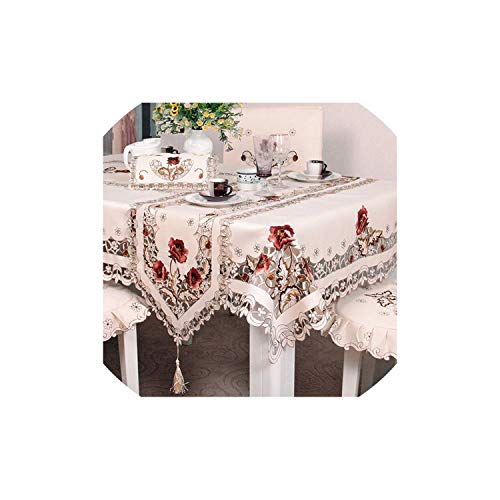 Tablecloths Embroidery Hollow-Out Chair Cover Table Cloth Ellipse Tea Table Cloth Table Round Tablecloth, 1 Set Chair Cover