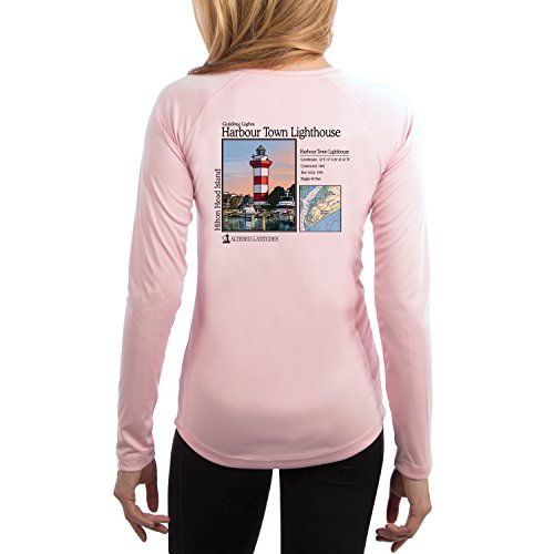 Altered Latitudes Guiding Lights Harbour Town Light Women's UPF 50+ Long Sleeve T-Shirt Large Pink - Shops Harbour Town
