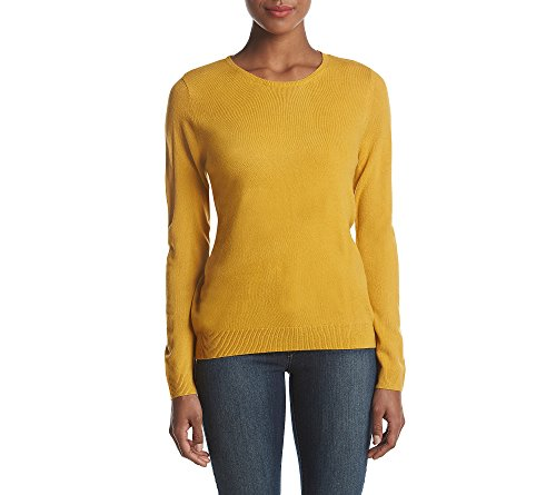 Cable   Gauge Crew Neck Pullover Sweater Mustard Medium