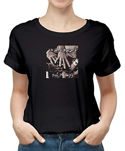 Mankitees Women S Cotton T Shirt Bon Jovi Keep The Faith Classic