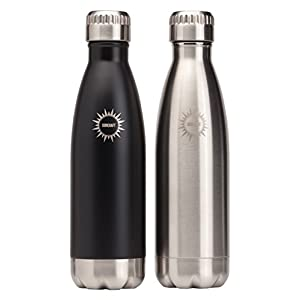 Stainless Steel Vacuum Insulated Water Bottles, 17 oz, Set of 2, BPA Free Double Walled Leak Proof Thermos Flask with Copper Lining, Drinks Stay Hot & Cold