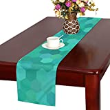 Jnseff Teal Blue Green Hexagon Cell Tile Table Runner, Kitchen Dining Table Runner 16 X 72 Inch For Dinner Parties, Events, Decor