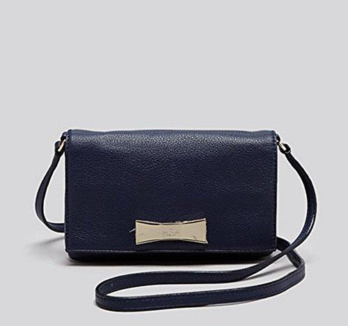 Kate Spade New York Maple Street Lanett Bow Crossbody Leather Small Navy Blue Bag