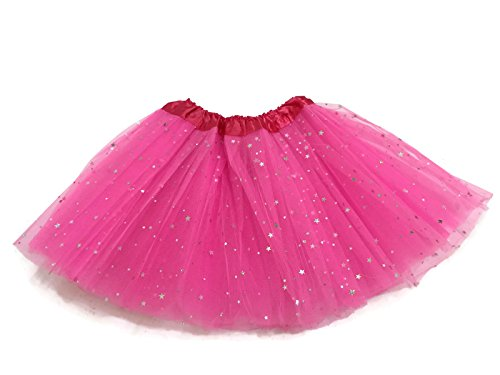 Rush Dance Ballerina Girls Dress-Up Sparkling Stars Sequins Costume Recital Tutu (Kids (2-8 Years Old), Shocking Pink)