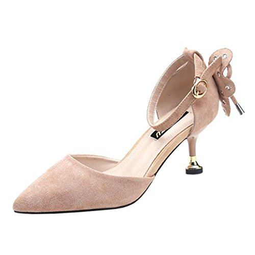 Mashiaoyi Damen Spitze-Zehe Stiletto Schnalle Bowknot Pumps Pink
