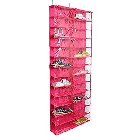 26 Pocket Over The Door Organizer Closet Shoe Rack Washable Hanging Shoe  Storage Bag Rose