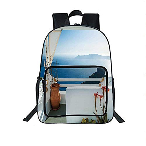 European Individual School Backpack,Holiday Terrace with Sea at Sunset Architecture on Santorini Island Greece for School Tourism,One_Size