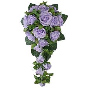 Lavender Silk Rose Cascade - Bridal Wedding Bouquet 35