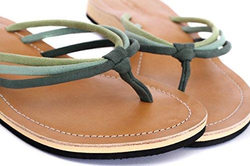 Amboss Damen Sandalen, Zehentrenner mit Echt-Leder, Gr.36-43, Farbe: lila, grün Grün