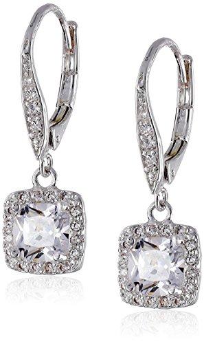 Anne Klein Flawless Silver-Tone & Cubic Zirconia Leverback Drop Earrings