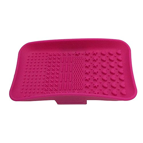 Happy Hours - Silicone Makeup Brush Cleaning Mat Pad Gloves / Newest Cosmetic Brushes Washing Scrubber Palette Board Tools(Rose Red) (Shark Tank Products Nail Polish compare prices)
