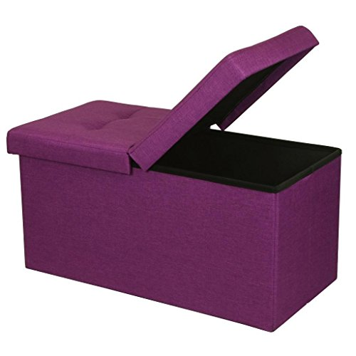 ge Ottoman - Folding Toy Box Chest with SMART LIFT Top, Upholstered Tufted Ottomans Bench Foot Rest for Bedroom, Orchid Purple ()