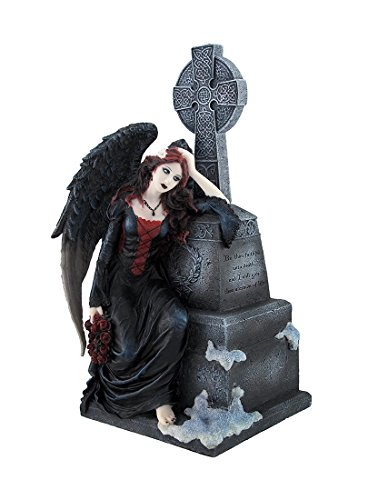 Gothic Dark Angel Mourning by Tombstone Statue (Angel Tombstone)