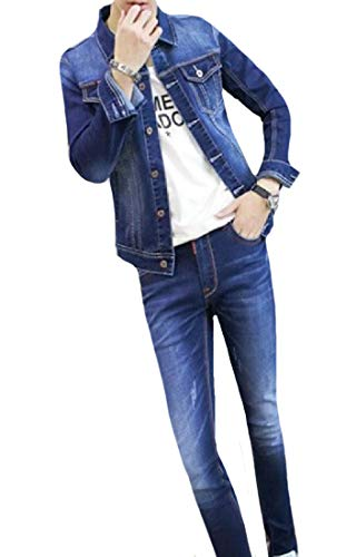 Abetteric Men Rugged Wear Cowboy College Jacket Pencil Jeans Outfit