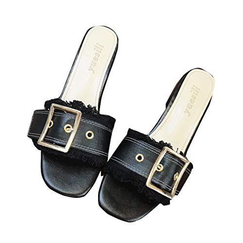 Rond des Bout Portent Franges Pantoufles des Et YUCH Les Sandales Femmes À Black pour p7UqRZx
