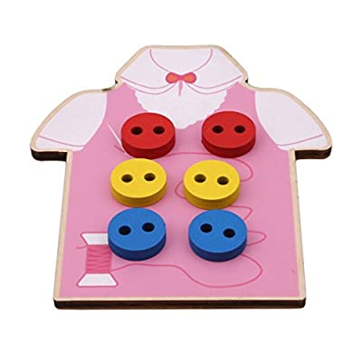 Edtoy Pink Female Baby Children Beads Lacing Board Wooden Toys,Toddler Sew On Buttons Early Education Teaching Toys: Toys & Games