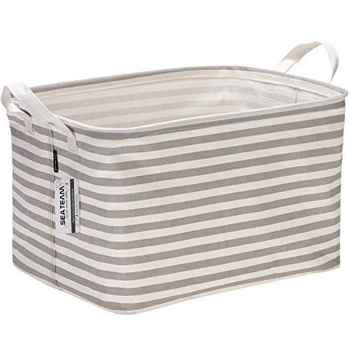 - Sea Team Collapsible Rectangular Canvas Fabric Storage Bin Shelf Basket Organizer for Nursery & Kid's Room, 16.5 x 11 x 9.8 inches, Grey Stripe