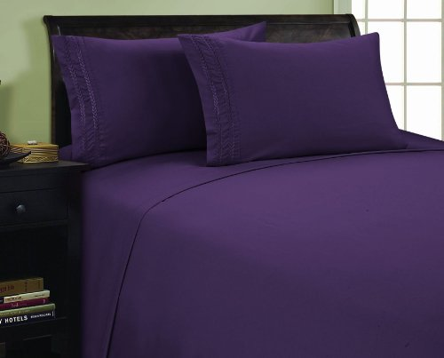 1800 Thread Count CHAIN DESIGN Egyptian Quality Luxurious Silky Soft WRINKLE & FADE RESISTANT Hypoallergenic 4 pc Sheet set, Deep Pocket Up to 16