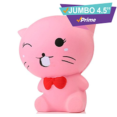 Cheap Jumbo Kawaii Pink Cat Slow Rising Squishy Prime |Cute Large Squishies Animal Toys| Scented Alpaca Strawberry Cake Paw Fat Cat Panda Koala| Pack Random Set |Soft Squeeze Stress Relieve (Cat Pink) (Fat Cat Accessory Pack)