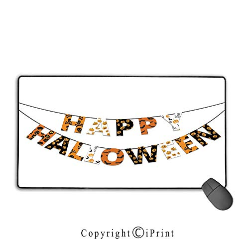 Extended Mousepad with Durable Stitched Edges,Halloween,Happy Halloween Banner Greetings Pumpkins Skull Cross Bones Bats Pennant Decorative,Orange Black White, Suitable for offices and homes,15.8