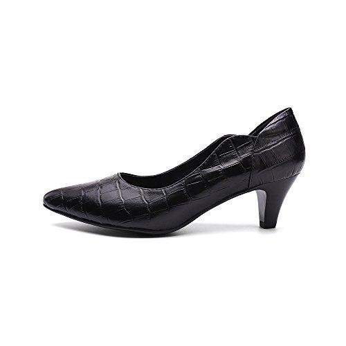 Mona Flygande Kvinna Äkta Läderskor För Kvinnor Kontor Med Klackar Spetsig Tå Vintageklänning Pump Svart