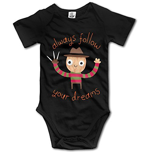 OASCUVER Infant Baby Always Follow Your Dreams Cute Funny Bodysuit Black