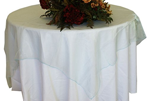 Wedding Linens Inc. (2 PCS) 72'' Square Organza Sheer Table Overlays Toppers Organza Tablecloths Table Covers Linens for Wedding Party Banquet Events - BABY BLUE by Wedding Linens Inc.
