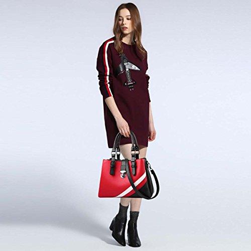 alla per donna Borsa NICOLE a tracolla Nero per DORIS amp; moda Rosso borsa la Vino multiscomparto qPqWStUwx