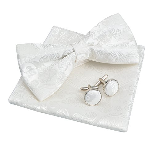 Alizeal Mens Paisley Bow Tie, Pocket Square, Cufflinks Set (White) (White Tie Set Bow)