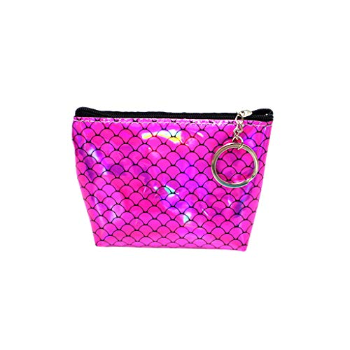 (Claystyle Women Girl Printing Flower Snacks Coin Purse Wallet Bag Change Pouch Key Holder Purple)