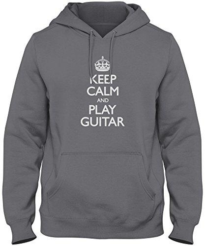 (ShirtLoco Men's Keep Calm And Play Guitar Hoodie Sweatshirt, Charcoal Medium)