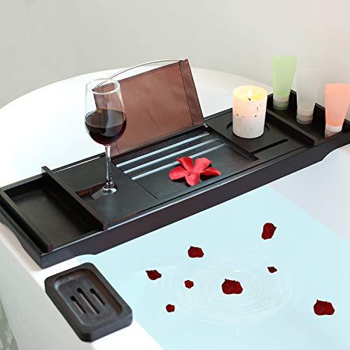 Bamboo Luxury Bathtub Caddy, Bamboo Bath Tub Tray with Extending Sides, Shower Organizer by TDYNASTY DESIGN (Image #1)