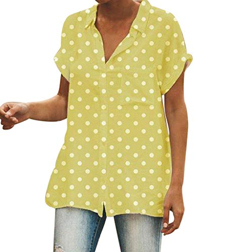 YKARITIANNA Women Turn-Down Collar Short Sleeve Pocket White Polka Dot Print Top T-Shirt -
