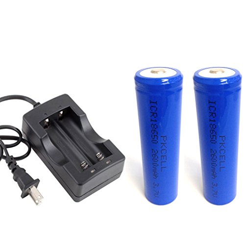 2 Pack 18650 2600mAh 3.7V Rechargeable Li-Ion Battery Button Top with Battery Charger by PK Cell