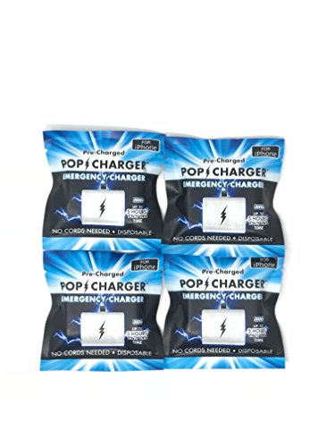 Pop Charger Pre-Charged Disposable Emergency Charger,Compatible with iPhone,Pack of 4