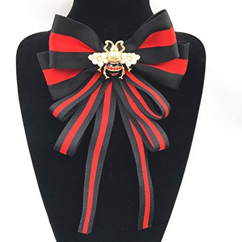 Ribbon Gold Brooch (Rhinestore Crystal Dangle Wedding Party Bow Tie Women/Men Ribbon Pre Tied Neck Tie Adustable Brooch Pin Clip (Long+red+black/SR116))
