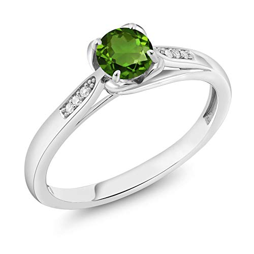 Gem Stone King 10K White Gold 0.54 Ct Round Green Chrome Diopside and Diamond Engagement Ring (Size 7)